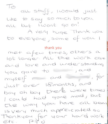 a card from some happy parents of a previous client at Era Care